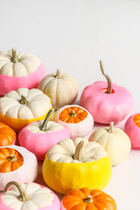 No-carve decorated pumpkins in group