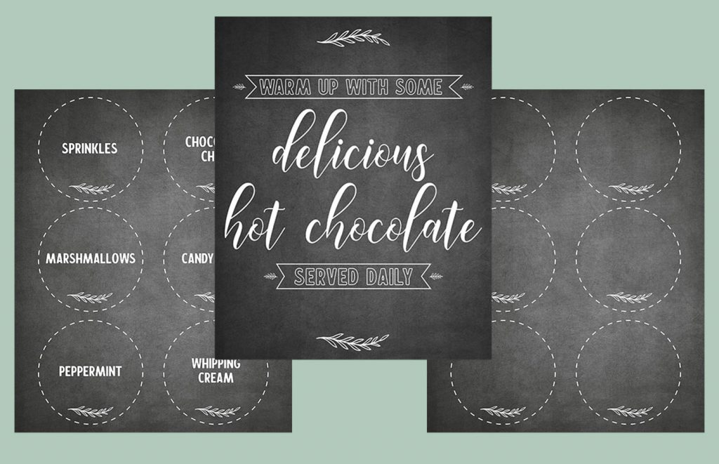 Free printable hot chocolate bar signs and labels