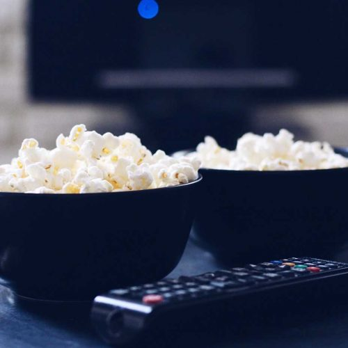 popcorn and tv remote