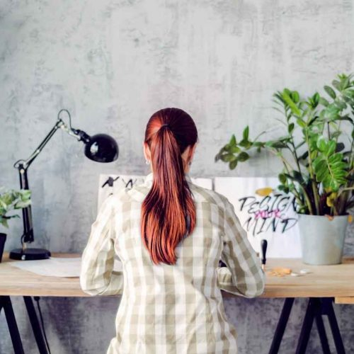 woman working at side hustle