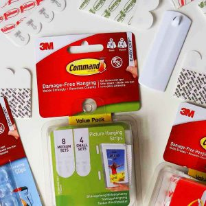 Command Hooks and Command Strips packs closeup