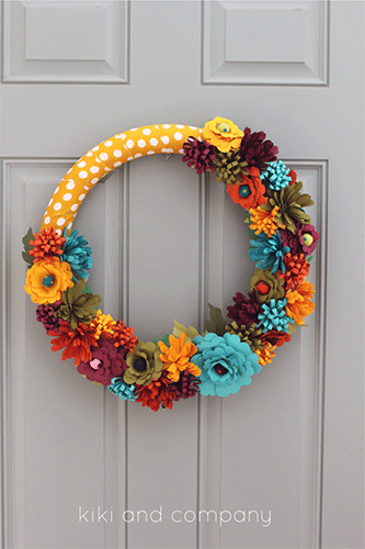 Fall wreath with fabric