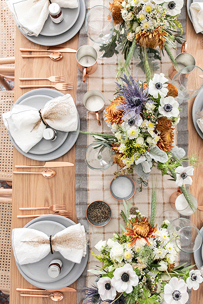 Fall table setting for dining
