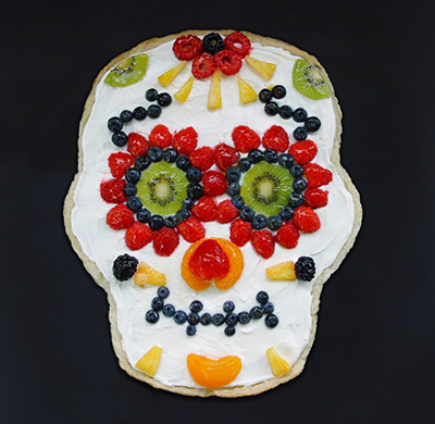 Fruit pizza day of the dead