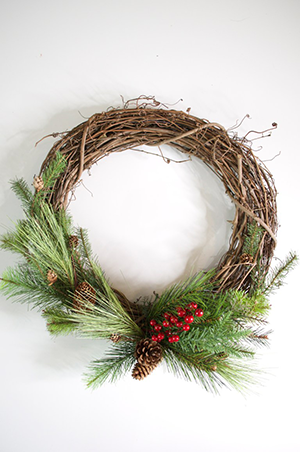 DIY pine and berry wreath