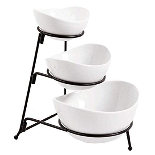 3 Tier Oval Bowl Set with Collapsible Rack