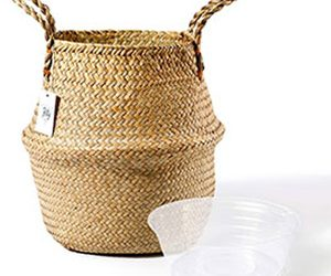 Seagrass basket with inner pot
