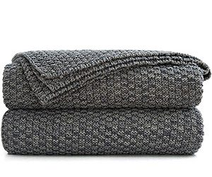 Cozy Grey Knitted Blanket