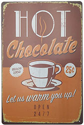 Vintage Metal Hot Chocolate Sign