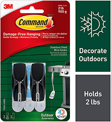Command Outdoor Stainless Steel Wire Hooks