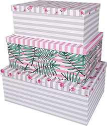 Decorative Storage Cardboard Boxes with Lids (Set of 3, Tropical)