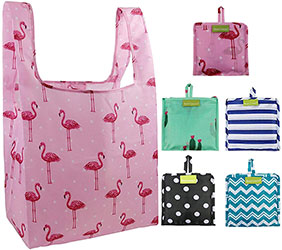 Foldable Reusable Shopping Bags Bulk Pack of 5