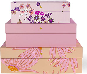 Kate Spade New York Decorative Storage Boxes with Lids, 3 Pack