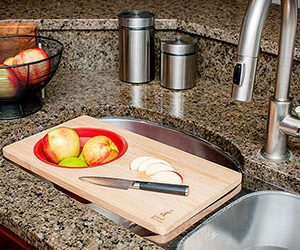 Over the Sink Cutting Board with Collapsible Strainer