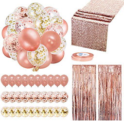 Rose Gold Party Decorations 35 Pack