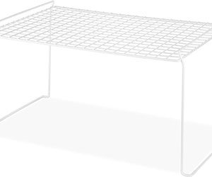 White Wire Stacking Shelf Large